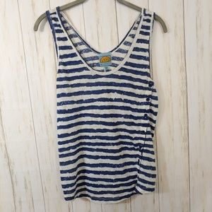 C&C California Striped Button Detail Tank Top Med